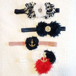 Other - 4 headbands set, nautical blue and red